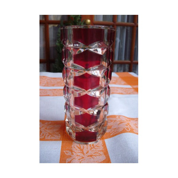 Glass Vase 6 Quot Clear Amp Deep Red 3 Sided Shape Retro 70 S French Table Centrepiece Oldy Worldy